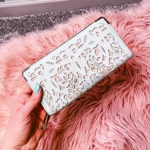 Aldo mint faux leather wallet with gold detail